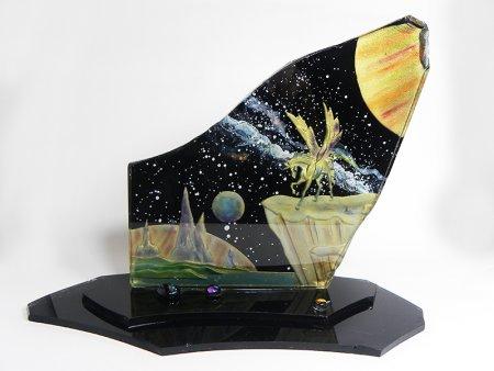 宇宙とペガサス-ガラスのエッチング