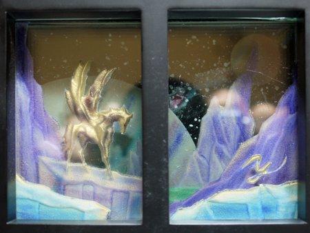 輝くペガサス置き型-ガラスのエッチング