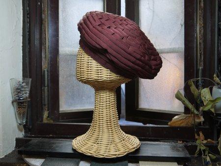 リボン ベレー帽(ワイン色)