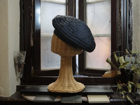 リボン ベレー帽(黒)