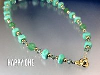 ベネチアンガラス(エメラルドグリーン)連玉ネックレス