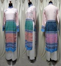 ターイ族手織り生地コンビのアオザイ4 SIZE M