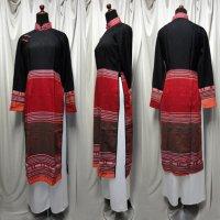 ターイ族手織り生地コンビのアオザイ2 SIZE M