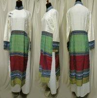 ターイ族手織り生地コンビのアオザイ SIZE XL