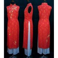 エレガンスレッドの美しい二枚仕立てノースリーブアオザイ SIZE XL