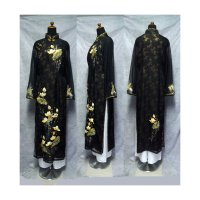 頼れる黒の世界蓮の絵柄の高級二枚仕立てアオザイ SIZE XL