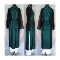 エレガントシンプル二枚仕立てアオザイ ブラック&エメラルドグリーン SIZE XL