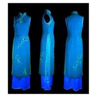 限定品不思議な輝きを魅せる究極の二枚仕立てノースリーブアオザイ SIZE S