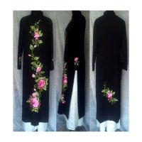 正統派刺繍のブラックアオザイ SIZE XL